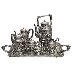 Eight-Piece Spanish Silver Tea and Coffee Service circa 1940