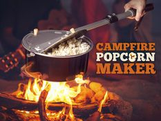 Campfire Popcorn Maker is the best camping companion you'll ever have. Simply pop the corn over the campfire or BBQ as the perfect end to a great meal. Popcorn Maker, Bbq, Gadgets, Meals, Cool Stuff, Ethnic Recipes, Camping, Food, Barbecue