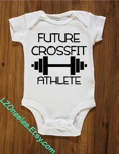 Future Crossfit Athlete / Champion onesie bodysuit: Crossfitter, athlete, bodybuilding, baby onesie, baby bodysuit by LZOnesies