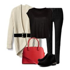 Black top+black skinny jeans+black ankle boots+natural knit cardigan+red handbag. Winter to Spring Casual Outfit 2018