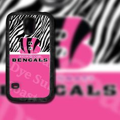 Cincinnati Bengals Black and Pink Zebra Design on Samsung Galaxy S5 Black Rubber Silicone Case by EastCoastDyeSub on Etsy https://www.etsy.com/listing/195922791/cincinnati-bengals-black-and-pink-zebra