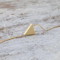 14K Gold filled Triangle necklace, Gold necklace, Triangle gold necklace, tiny gold necklace, delicate necklace -21032 by Avnis on Etsy