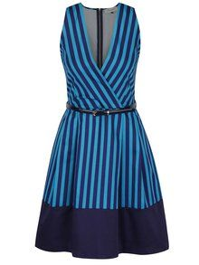 8b3597d8260 Tyrkysovo-modré pruhované šaty s překládaným výstřihem a páskem Closet