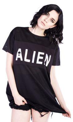 Alien Mesh Tee Dress #disturbiaclothing disturbia oversized holographic alien goth occult grunge alternative