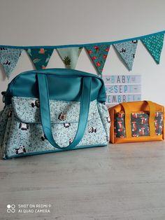 Sac à langer Boogie bleu et Fringante orange cousus par Audrey - Patrons Sacôtin