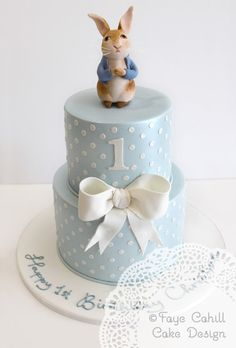 Peter Rabbit on a sweet polka dotted tiered cake by Faye Cahill