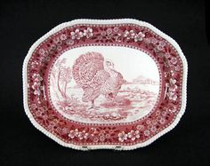 English Staffordshire red and white transferware turkey platter made by Copeland Spode in the pink Spode Tower pattern circa 1930 Thanksgiving Plates, Vintage Thanksgiving, Turkey Plates, Turkey Dishes, Green And Purple, Pink And Green, Red And White, China Teapot, Game Birds