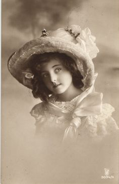 Edwardian Beauty Curly Girl with Hat Photo Postcard CA 1916 | eBay