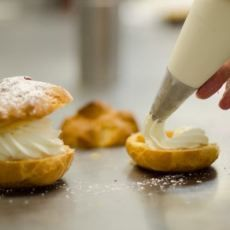 """Are you searching for """"pastries near me""""? Buttercream's bakeshop in downtown Apex, NC offers fresh baked pastries. Cream Puff Filling, Pastry Shop, Eclairs, Freshly Baked, Pastries, Tart, Bakery, Treats, Sweet Like Candy"""