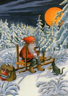 Ingvor - gnome against a magical moon Nordic Christmas, Old Christmas, Christmas Gnome, Father Christmas, Christmas Pictures, Vintage Christmas, Beautiful Christmas, Troll, David The Gnome