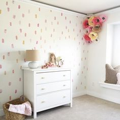 Paint brush wall decals placed in a pattern on a beige wall behind a white dresser. Each wall decal features a different shade of pink, orange, corals, etc. Wall Letter Decals, Polka Dot Wall Decals, Nursery Wall Decals, Vinyl Wall Stickers, Pink Walls, Beige Walls, Girl Bedroom Walls, Bedroom Ideas, Bedrooms