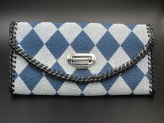 Genuine Stingray Handmade Ladies' TriFold Clutch Wallet - Blue and White Diamond Checkered Exterior with Black Glazed Pigskin Interior
