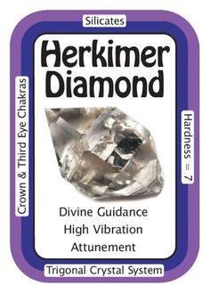 "Crystal Card of the Day: Herkimer Diamond, ""Spiritual communication comes naturally to me."" Herkimer Diamonds are naturally double terminated Quartz crystals and are found in Herkimer, New York, from which they get their name; Herkimer Diamonds. Herkimer Diamonds are called ""attunement stones"" and are useful in attuning you with others, your surroundings, or new energies. This makes Herkimer Diamonds a natural choice to assist in Reiki attunements and other types of energy work. You can…"