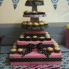 Easy but beautiful cupcake stand I did for a baby shower. :)