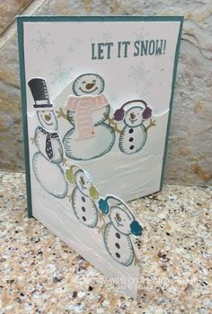 Stamp & Scrap with Frenchie: Tri Fold Snowman Family