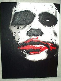 Canvas painting dark #knight joker dark eyes art #16x12 inch #acrylic, View more on the LINK: http://www.zeppy.io/product/gb/2/191795377315/