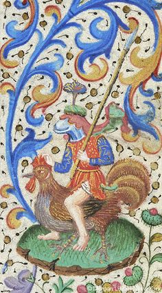 Helmeted knight, holding lance, seated astride rooster | Book of Hours | France, Paris | ca. 1460 | The Morgan Library & Museum