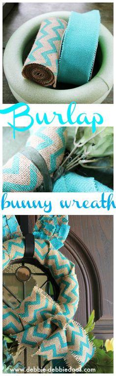 Burlap bunny wreath for front door.