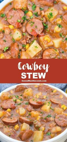 1.5 hours · Serves 8 · Dinner's on! My Cowboy Stew recipe combines three types of tender meat with beans & veggies in a one-pot wonder delicious enough to everyone! Easy Soup Recipes, Beef Recipes, Healthy Recipes, Healthy Soups, Slow Cooker Recipes, Vegetarian Recipes, Recipies, One Pot Recipes, Good Recipes For Dinner
