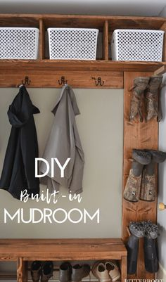 DIY Mudroom | build a custom mudroom with free plans from Bitterroot DIY. Mudroom bench, boot storage, and mudroom cubbies.