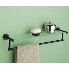 OIA Glass Shelf with Towel Bar in Oil Rubbed