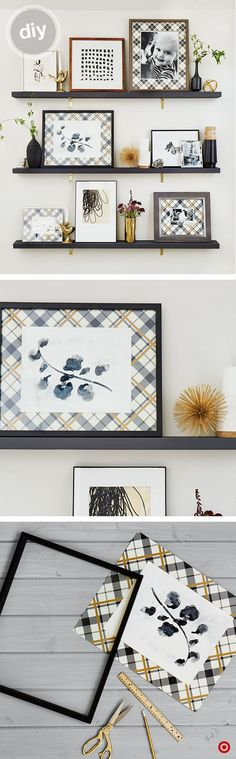 For a new take on the gallery wall, mount inexpensive wood pieces with pretty brackets to the wall. Mix frame sizes and finishes to add variety and interest to your wall. Layer them from largest to smallest, and pepper in small accents to finish. Setting frames instead of hanging makes it easy to add more or edit as you go. Make a custom matte for family photo with gift wrap. Measure the frame; trim paper to fit. Place photo or print on top and secure with double-sided tape. Add glass to…