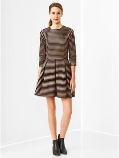 Stripe fit & flare dress/ opaque tights/ necklace/booties
