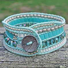 West County Cuff: A Multi-Row Wrap Bracelet-Bodega Bay Fabric Jewelry, Beaded Jewelry, Jewelry Bracelets, Handmade Jewelry, Wrap Bracelets, Jewlery, Leather Bracelet Tutorial, Bijoux Diy, Leather Jewelry