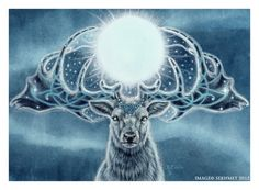 """the """"Deer Mother"""" who once flew through winter's longest darkest night with the life-giving light of the sun in her horns."""