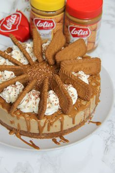 A delicious No-Bake Biscoff Cheesecake, with a Lotus Base, sprinkled with more biscuits and whipped cream and a Biscoff Drizzle. Cinnamon Cheesecake, Cheesecake Recipes, Lotus Cheesecake, No Bake Desserts, Delicious Desserts, Dessert Recipes, Lemon Desserts, Biscoff Recipes, Baking Recipes