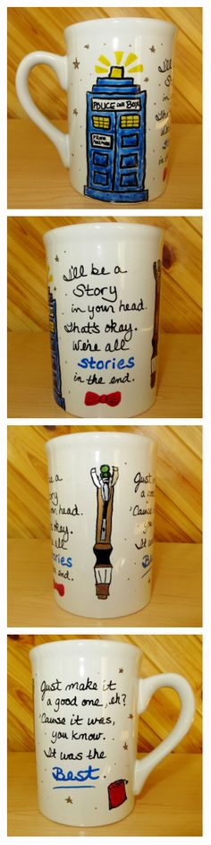 """Doctor Who Hand Painted Mug ~ """"We're all stories in the end..."""" 11th Doctor quote  - $10 on Etsy"""