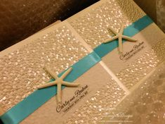 Stunning elegant beach wedding invitations with natural starfish