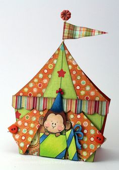 tent card was made by Pam Sparks using a free pattern from Van Laar Designs -via craft gossip. See link to template on my other pin. Boy Cards, Kids Cards, Cute Cards, Kids Birthday Cards, Card Birthday, Shaped Cards, Tent Cards, Marianne Design, Card Tutorials