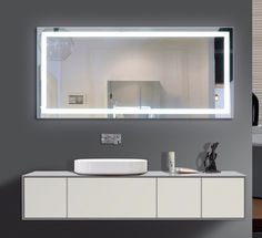 Light up your home with this Harmony Illuminated Medium LED Mirror. Illuminated with an LED light, this mirror can be hung on your wall to allow optimal viewing in the mirror. This eco-friendly mirror Backlit Bathroom Mirror, Diy Vanity Mirror, Bathroom Lighting Design, Mirror Makeover, Led Mirror, Mirror With Lights, Lighted Mirror, Wall Mirror, Feng Shui