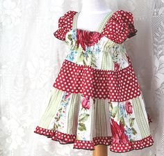 Handmade Baby Dress Vintage Inspired Rose & Polka Dot Cottage Chic. Also available in Toddler - Tween sizes to fit all your girls, by BerryPatchUSA  #kids #clothes #handmade #baby #gift #christmas #girl