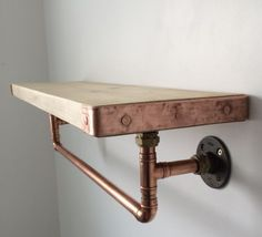 Handcrafted Copper Pipe Shelf With Hanging Rail Industrial/modern/rustic in Home Furniture & DIY Furniture Bookcases Shelving & Storage Rustic Industrial Furniture, Modern Industrial, Modern Rustic, Rustic Style, Kitchen Industrial, Vintage Industrial, Industrial Shelves, Industrial Pipe, Pipe Furniture