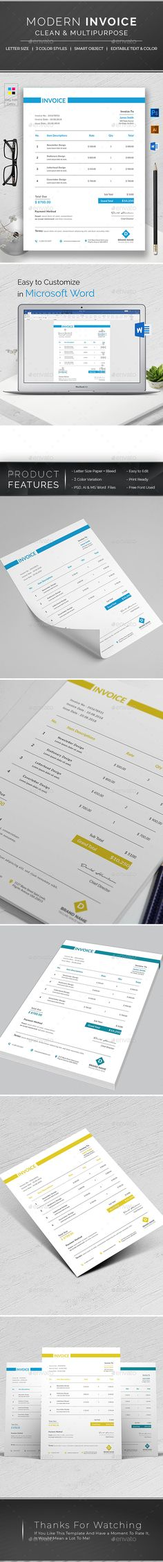 Design Source by CreativeZoom on Etsy Company Invoice Templates