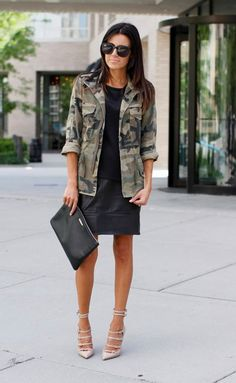 Camo outfit - Chic, will also fit as office outfit Camo Fashion, Military Fashion, Look Fashion, Girl Fashion, Latex Fashion, Gothic Fashion, Camo Shirt Outfit, Camo Outfits, Camo Dress