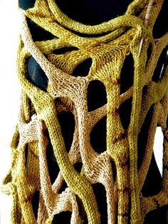 COBWEBS - handknit shawl scarf  poncho wrap - in gold