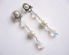 Cercei mireasa din perle sticla - produs handmade nunta / accesoriu mirese Pearl Earrings, Drop Earrings, Pearls, Jewelry, Fashion, Pearl Drop Earrings, Moda, Pearl Studs, Bijoux