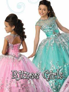Ritzee Girls Polka Dot Girls Pageant Dress 7020|PageantDesigns.com
