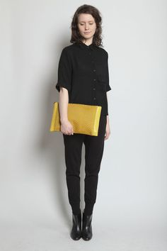 TOTOKAELO - Reece Hudson - Oversized Zip Clutch - Mustard