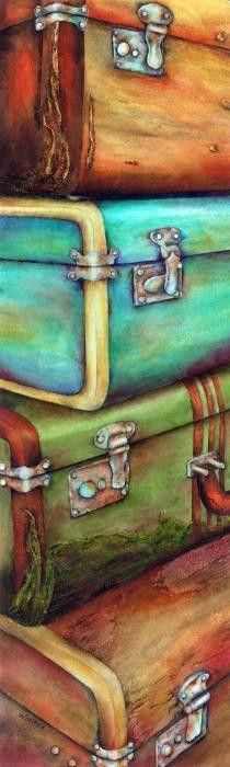 beautiful suitcases illustration