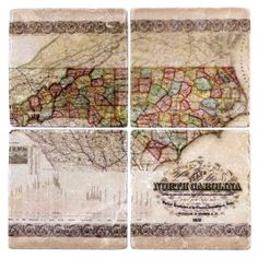 Antique NC Map Marble Coasters - Set of Four