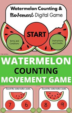 The watermelon Counting Movement Game is the perfect way to work on movment! Work on one to one correspondence and add in gross motor and movement skills. Your kids will LOVE this cute digital game. It can be played in person as well as used for distance learning or teletherapy! This is an awesome addition to any classroom, physical therapy session, occupational therapy session, physical education or home! Great for preschool & kindergarten!