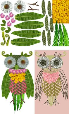 """Behind the Design: Creating with Leaves and Flowers - """"Hey, this looks kind of like me!"""" Olive the Owl."""