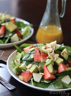 Strawberry Avocado Spinach Salad with Honey Mustard Vinaigrette