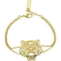 Kenzo Designer Bracelets Gold Plated Tiger Bracelet ($180) ❤ liked on Polyvore featuring jewelry, bracelets, kenzo, gold plated jewellery, gold plated bangles, layered jewelry and gold plated jewelry