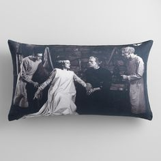 Give your sitting space a spooky update courtesy of our collaboration with Universal Pictures. Our exclusive black and white pillow captures the chilling style of the classic 1931 film Frankenstein with a still of the monster and his bride.
