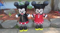 mickey and minnie flower pot people by Poohlies on Etsy
